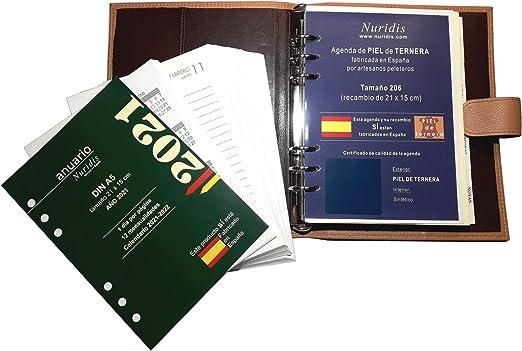 Agenda española de Piel de ternera Premium, con recambio del año, 1 día página (Negro): Amazon.es: Oficina y papelería