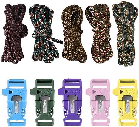 Dealikee 5/set DIY make your own braccialetto di paracord Flint Fire starter//coltello//fischio fibbia /& Rescue 400/Paracord bracciale da escursionismo campeggio zaino Parts