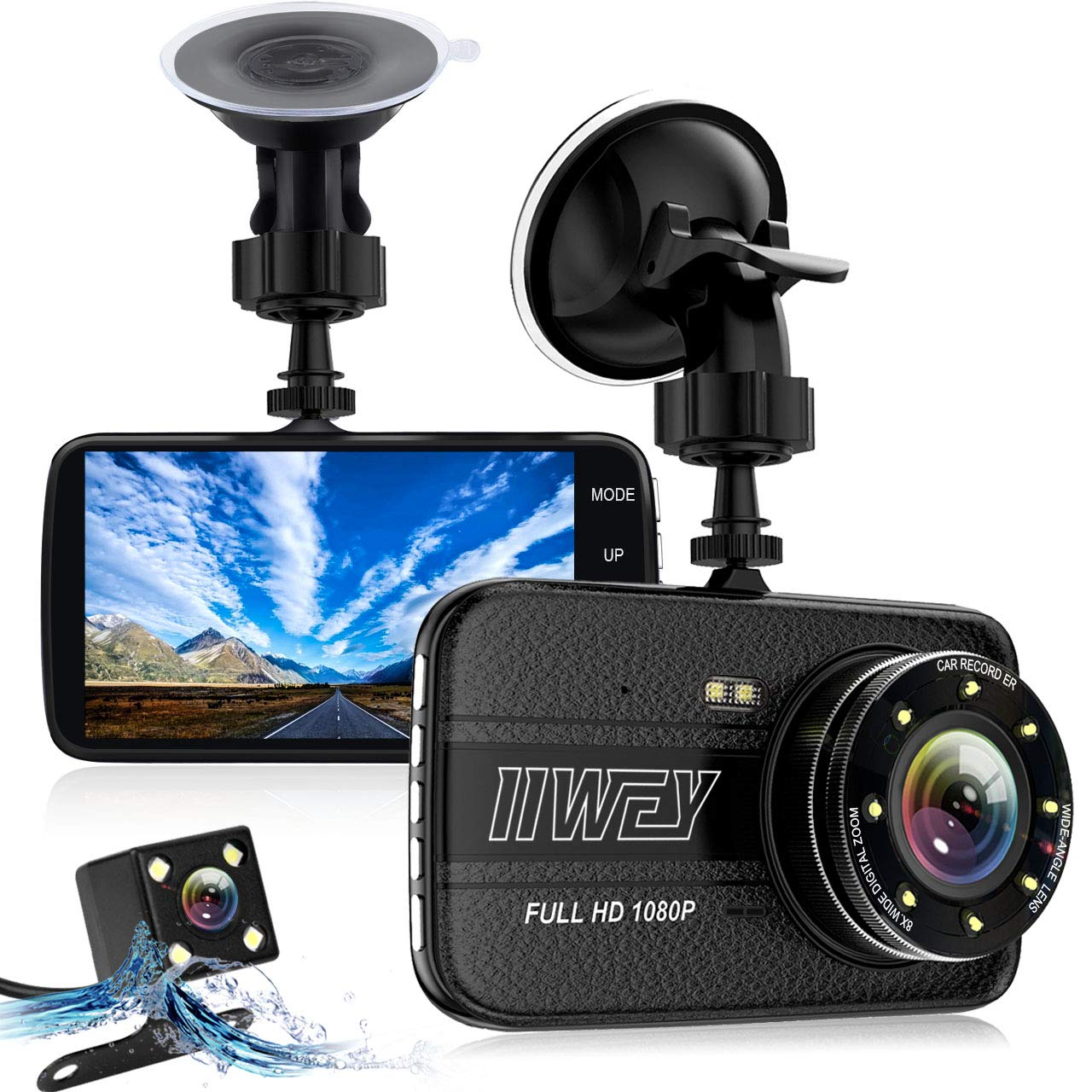Dash Cams for Cars Front and Rear with Night Vision, Car Camera with 8 Led Lights, 1080P Full HD Dual Lens Dash Cam, 4 Inches Large IPS Screen, 170 Wide Angle, Loop Recording, G-Sensor
