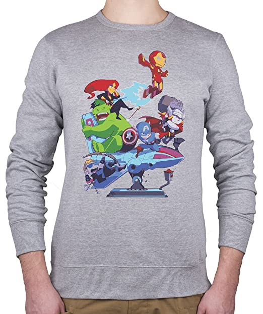Marvel personajes/Avengers: Capitán América, Hulk, Iron Man, Thor sudadera Unisex Gris gris small: Amazon.es: Ropa y accesorios