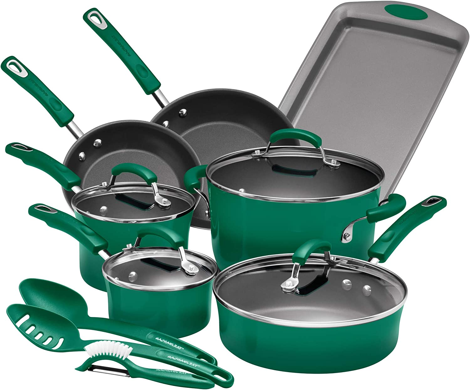 Rachael Ray Porcelain Enamel Aluminum Nonstick 14 piece Cookware Set (Fennel Green)