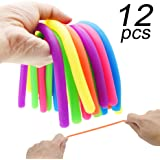 Enthur Stretchy String Fidget Sensory Toys Build Resistance Squeeze Pull - Good for kids with ADD, ADHD or Autism, and Adults to Strengthen Arms 12 Pack (BPA/Phthalate/Latex-Free)