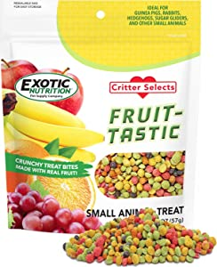 Fruit-Tastic Treat (2 oz.) - Healthy Crunchy Fruit-Flavored Treat - Sugar Gliders, Squirrels, Marmosets, Prairie Dogs, Hamsters, Chinchillas, Exotic Birds, Rabbits, Guinea Pigs & Other Small Pets
