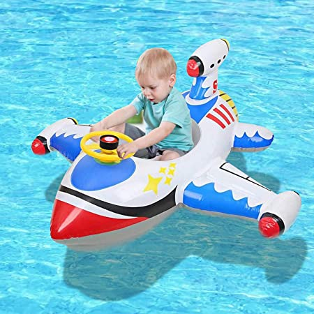 Inflatable Baby Swimming Float - Inflatable Pool Float, Airplane Swimming Rings, Inflatable Baby Float Plane, Toddler Baby Inflatable Float for Kids of 1-5 Years