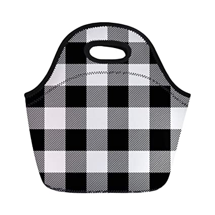b73cfefb1756 Amazon.com: Semtomn Lunch Tote Bag Black Lumberjack Plaid Pattern ...