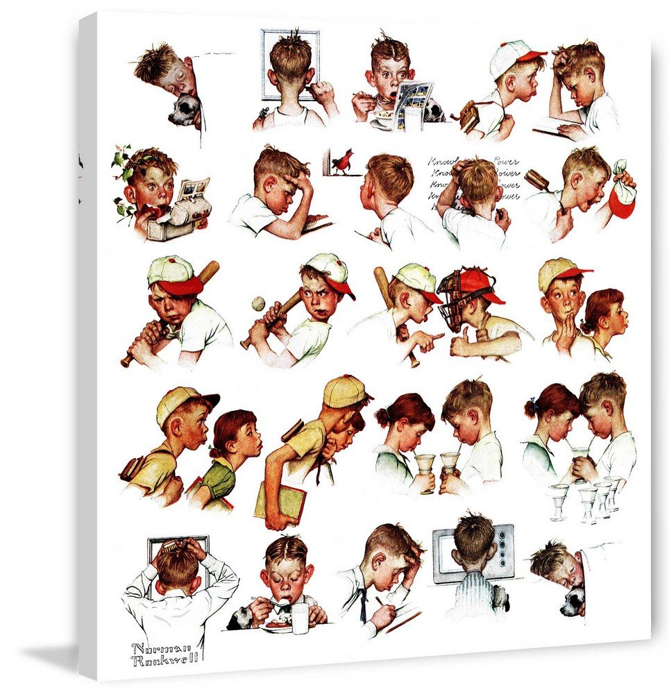 Marmont Hill Norman Rockwell Prints on Canvas ''Day in The Life of a Boy'' Art Print, 32 by 32''