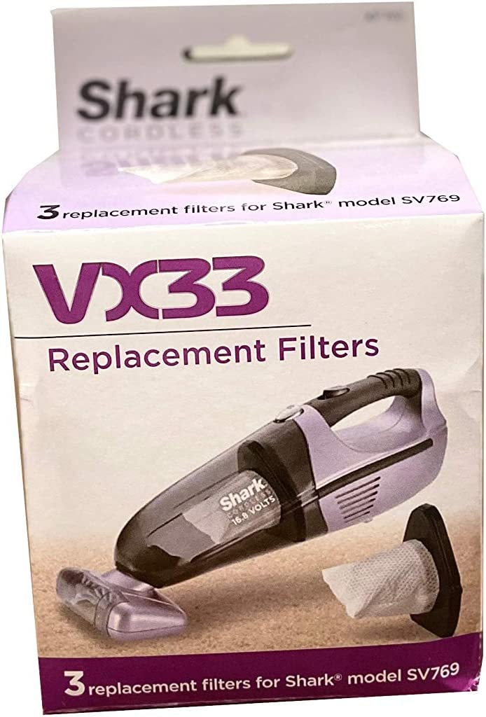 Shark XF769 Cordless Pet Perfect SV780 Dust Cup Filters, 3 Pack