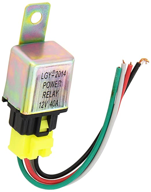 71J5rPeBtrL._SX522_ dc 12v 40a 4 pin car auto power relay w 4 wire harness socket 12 Volt DC Wiring at alyssarenee.co