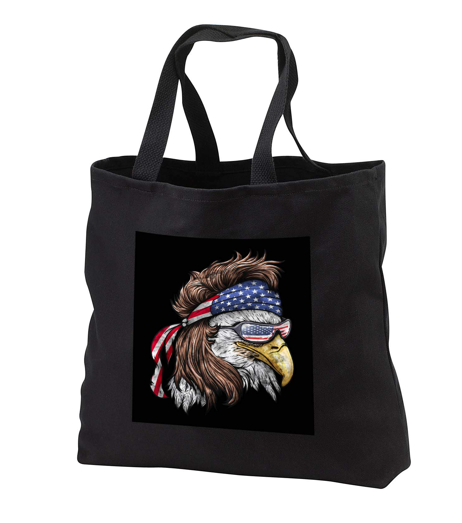 Sven Herkenrath - Animal - Cool Eagle with American Flag Bandana and Sunglasses - Tote Bags - Black Tote Bag JUMBO 20w x 15h x 5d (tb_290741_3)