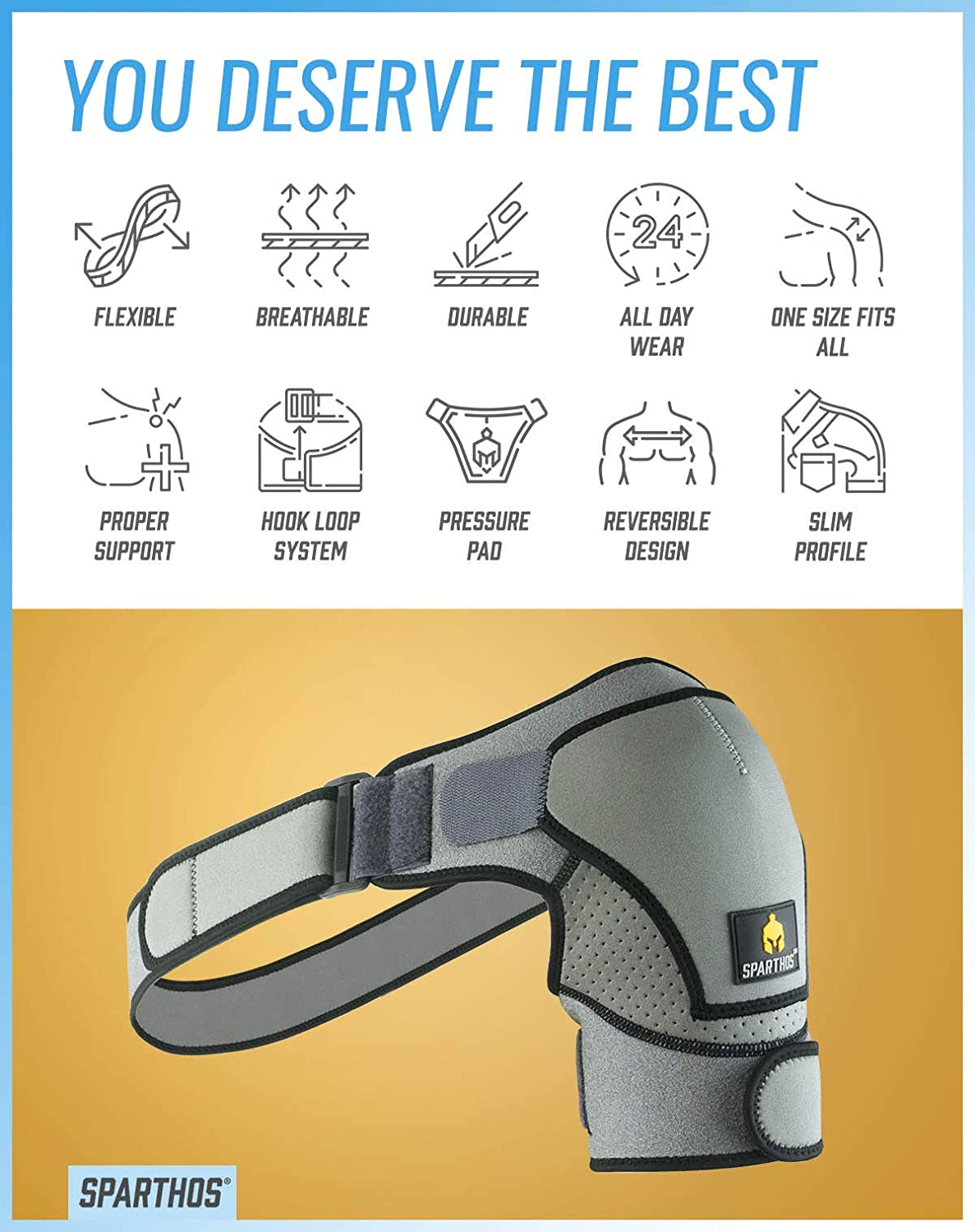 Support and Compression Sleeve for Torn Rotator Cuff Stability Strap Ice Pack Pocket Sparthos Shoulder Brace Arm Immobilizer Wrap for Men and Women Dislocated Sholder AC Joint Pain Relief