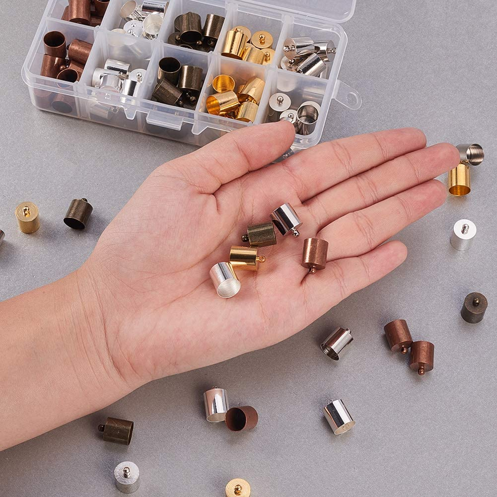 PH PandaHall 50pcs Antique Bronze Brass Glue-in Style Necklace Cord Crimp End Caps Beads Tube Barrel Loop Clasp for Bracelet Jewelry DIY Craft Making 5mm