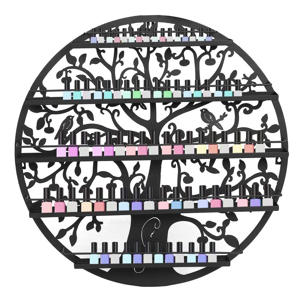 Essential Oils Nail Polish Organizer, Display Holder Storage Shelf Oval Black Metal with Tree Silhouette Wall Mounted Round Rack Oil Bottle Storage for Makeup Storage Display and Storage 5 Tier