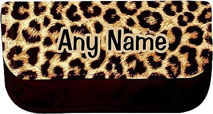 Personalizado estampado de leopardo estuche escolar: Amazon.es: Oficina y papelería