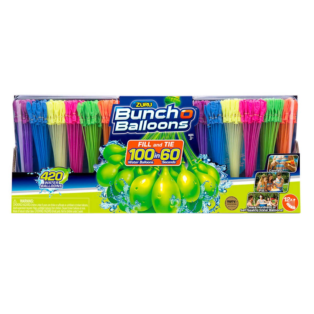 Bunch O Balloons Zuru 420 12 Pack, 840 Balloons, Rainbow