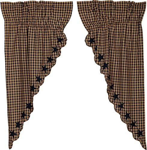 VHC Brands Navy Star Scalloped Prairie Short Panel Set of 2 63x36x18 Country Curtain
