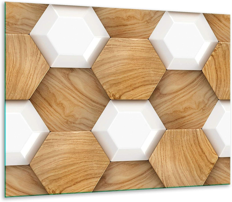 Color marr/ón decorwelt Placa Protectora para vitrocer/ámica 1 Pieza, 60 x 52, Madera, para inducci/ón