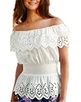 Summer Women Blouse Sexy Ruffles Off Shoulder Crochet White Tops Shirts Elegant Elastic Waist Blusas