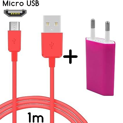 TheSmartGuard Original - Set 2 en 1 con Cargador y Cable de Carga Wiko Rainbow (1 m / 1 m) / Cable de Datos/Velocidad de Carga Mejorada en Color Rosa