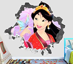 "Princess Mulan Wall Decal Smashed 3D Sticker Vinyl Decor Mural Disney - Broken Wall - 3D Designs -OP180 (Small (Wide 22"" x 16"" Height))"