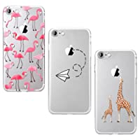 Yokata [3 Packs] iPhone 7 Hülle iphone 8 Hülle Transparent Silicone Handytasche Handyhülle Schutzhülle TPU Schale Etui Bumper Ultra Dünn Slim Durchsichtig Motiv Muster Clear Backcover Schutz für iPhone 7 iphone 8 Cases Covers - Hirsch + Flamingo + Papierflieger