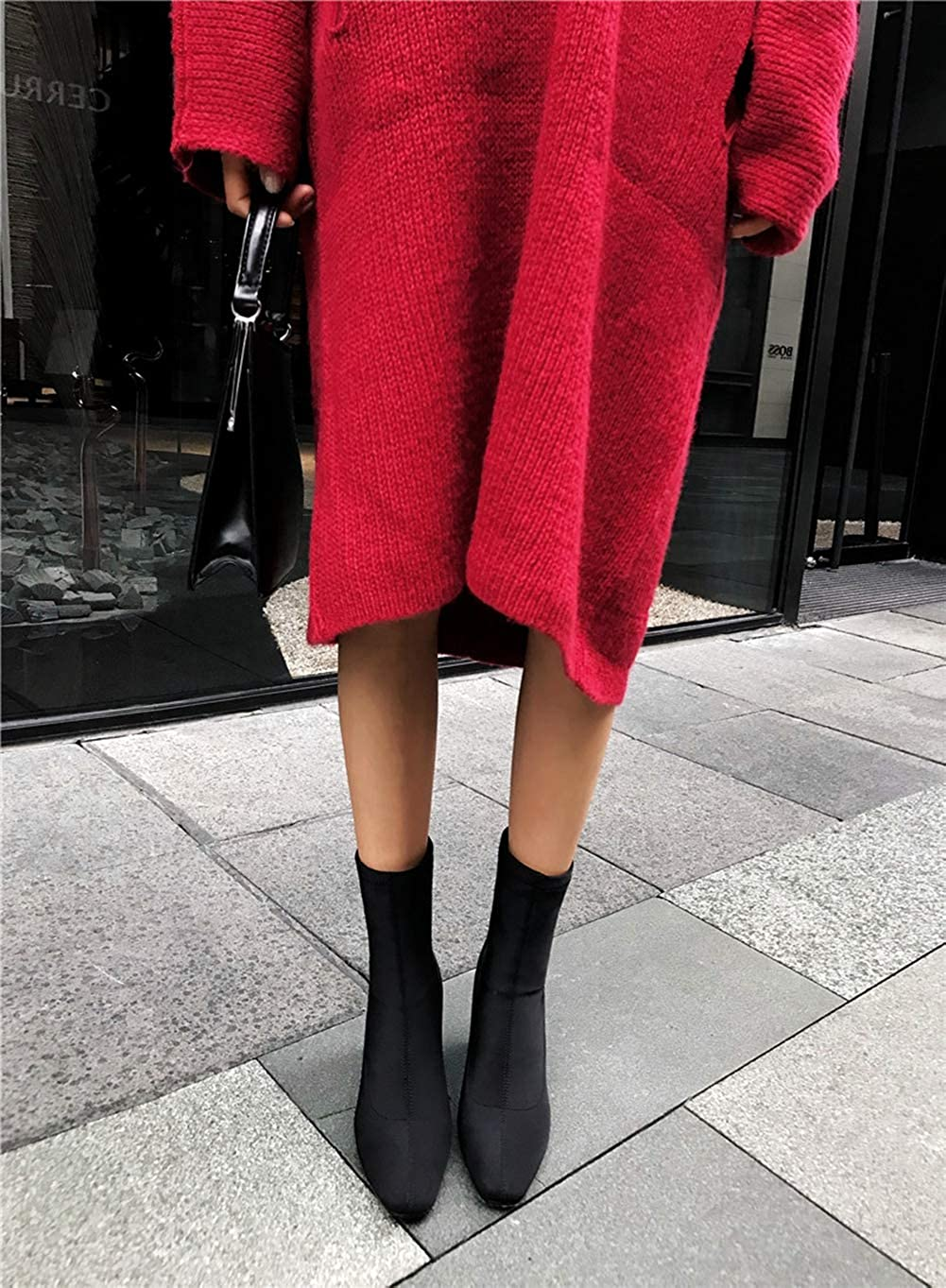 Women Winter Ankle Boots Fashion Square Toe Boots Square High Heels Popular Stretch Socks Booties