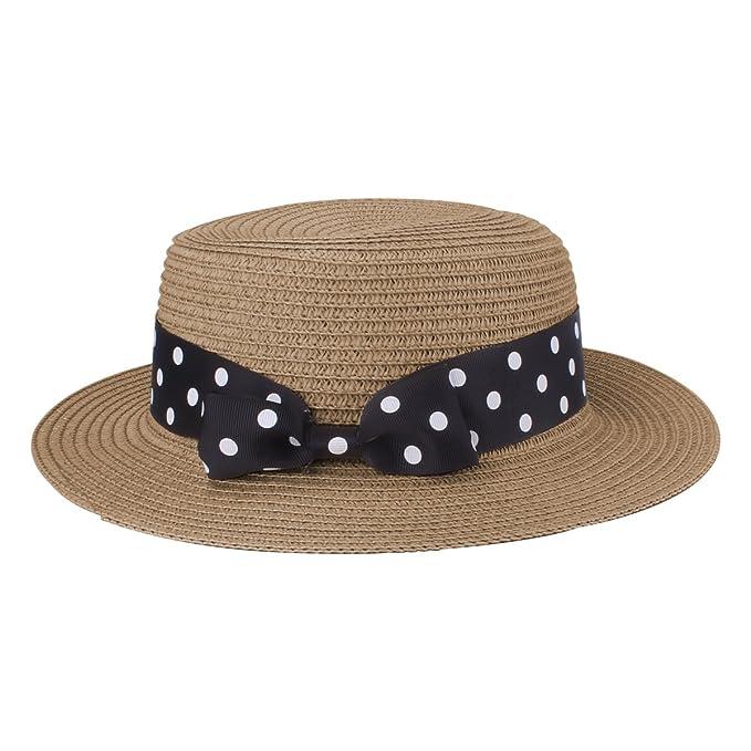 e304e4f43858c Boater Hat Sombrero de paja para mujer Bowknot Round Flat Top Brim Sombrero  de paja Summer