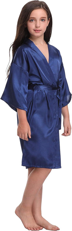 Flower Girl Satin Kimono Robes Pure Color /& Floral Printed Bathrobes for Spa Wedding Birthday Party