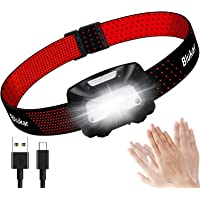 Blukar Hoofdlamp oplaadbaar, superheldere LED-koplampkoplamp met bewegingssensorbediening, rode…