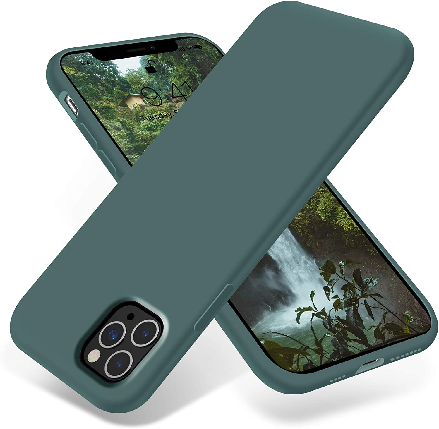 OTOFLY iPhone 11 Pro Max Case,Ultra Slim Fit iPhone Case Liquid Silicone Gel Cover with Full Body Protection Anti-Scratch Shockproof Case Compatible with iPhone 11 Pro Max (Pine Green)