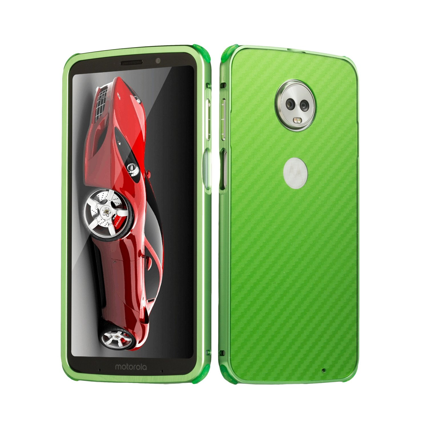 DAMONDY Moto Z3 Play Case, Luxury Carbon Fiber Design Ultra thin Imitation Metal Brushed Premium Aluminum Shockproof Protective Bumper Hard Back Case Cover for Motorola Moto Z3 Play-Green