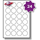 24 Per Page/Sheet, 5 Sheets (120 ROUND Sticky Labels), Label Planet® White Plain Blank Matt Paper Self-Adhesive A4 Circular Price Pricing Stickers, Printable With Laser or Inkjet Printer, UK LP24/40R, 40MM Diameter Circles, FOR JAM FREE PRINTING