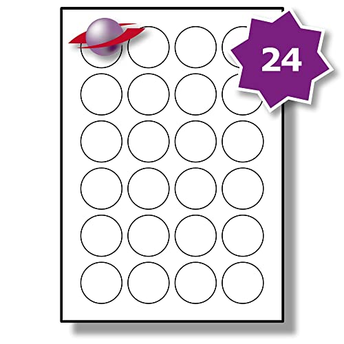 24 Per Page/Sheet, 10 Sheets (240 ROUND Sticky Labels), Label Planet® White Plain Blank Matt Paper Self-Adhesive A4 Circular Price Pricing Stickers, Printable With Laser or Inkjet Printer, UK LP24/40R, 40MM Diameter Circles, FOR JAM FREE PRINTING