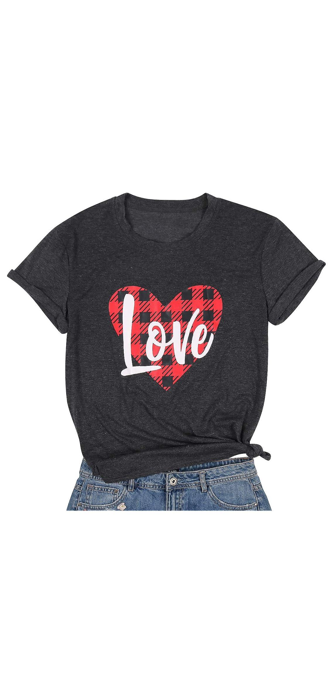 Valentine's Day Shirt Women's Cute Heart-shaped Plaid Tee
