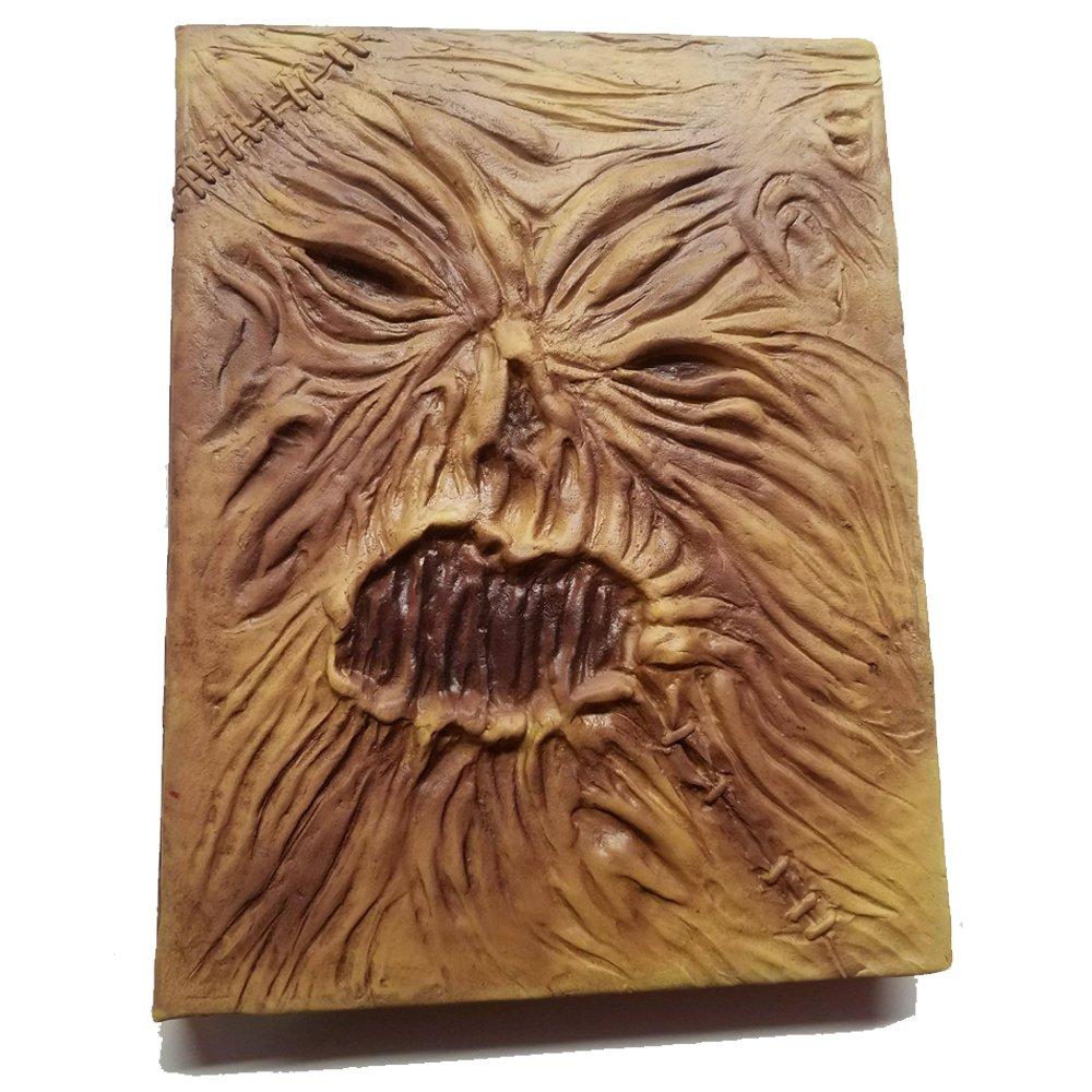 Necronomicon Book Prop Horror Movie Wiccan Spellbook Grimoire Lovecraft Cthulu Leather Latex Halloween Hocus Pocus Book of Spells Decoration Costume Notebook Journal