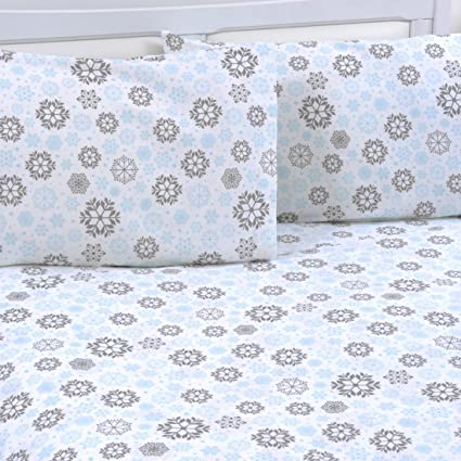 Mellanni King Flannel Sheet Set - 4 pc Printed Luxury 100% Cotton - Lightweight Bed Sheets - Cozy, Soft, Warm, Breathable Bedding - Deep Pockets - All Around Elastic (King, Blue/Gray Snowflakes) best king-sized flannel sheets