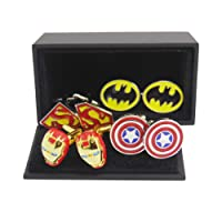Masalong US Superhero retro Cuff Links Superman iron Man Batman Captain mens 4 Pairs of sets cufflinks