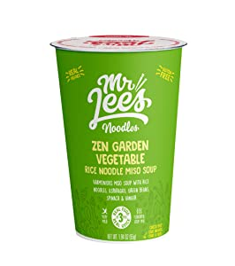 Mr Lee's Instant Ramen Cup Noodles, Gluten Free Vegan Rice Noodles, Authentic Miso Soup Zen Garden Vegetable Flavor. Bulk box of 8 x 55g