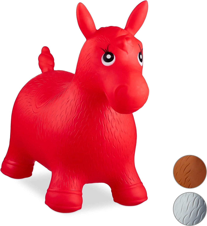 Relaxdays- Saltador Hinchable Caballo para Niños hasta 50 Kg sin BPA, Plástico, Color rojo, 48 x 26 x 58 cm (10024991_47) , color/modelo surtido