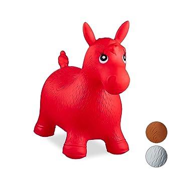 Relaxdays- Saltador Hinchable Caballo para Niños hasta 50 Kg sin BPA, Plástico, Color Rojo, 48 x 26 x 58 cm (10024991_47)