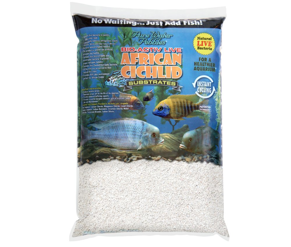 Pure Water Pebbles African Cichlid Bio-Activ Natural White Aquarium Live Sand for African Cichlids 20 LB. by Pure Water Pebbles