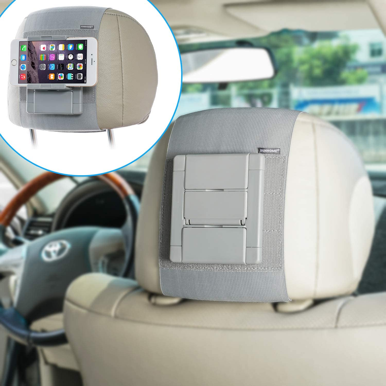 Car Mount Holder Gray Compatible with 5 to 10.5 Inch Screens Devices SUNHOME Car Headrest Mount Holder for Tablets /& Phones
