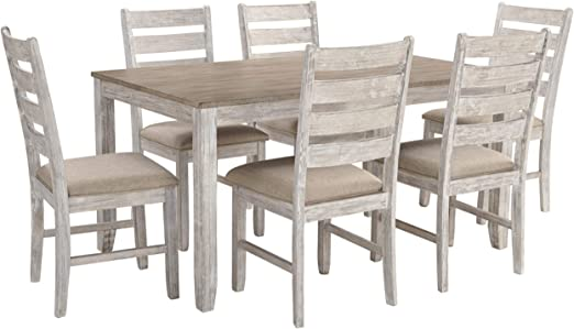 Amazon Com Signature Design By Ashley Skempton Dining Room Table And Chairs Set Of 7 White Light Brown Table Chair Sets