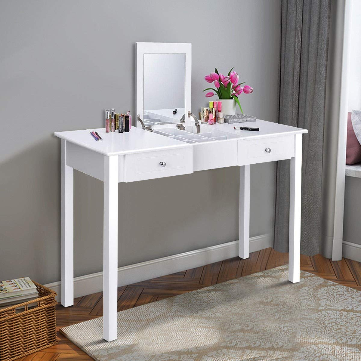 Kanizz Multipurpose Computer Laptop Workstation Flip up Bedroom Vanity Dressing Table 1 Mirror 2 Drawers Desk Accessories Hair Care Dressing Nail Polish Equipment Cosmetic