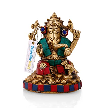 126a50e4ba Buy Collectible India Brass Ganesha Ganesh Idol Handmade Religious Murti Ganpati  Statue Religious Gift Online at Low Prices in India - Amazon.in