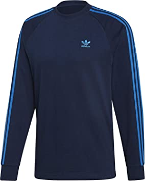 adidas 3-Stripes Camiseta de Manga Larga Blue: Amazon.es: Deportes ...