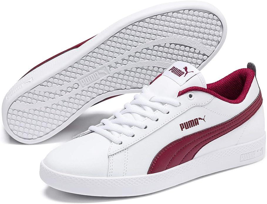 Puma Smash V2 L Sneakers Damen Weiß Weinrot