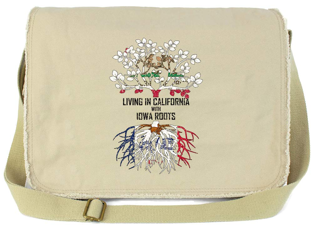 Tenacitee Living In California with Iowa Roots Grey Brushed Canvas Messenger Bag