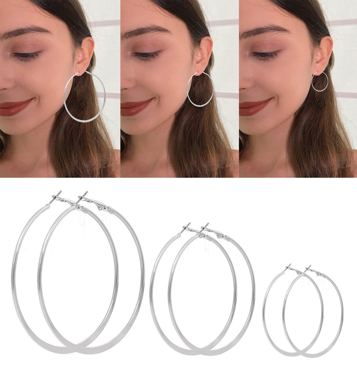 VUJANTIRY Multiple Hoop Earring Set Flat Twist Hoop Earring Textured Rounded Hoop Earrings 3 Pairs (Silver #4)