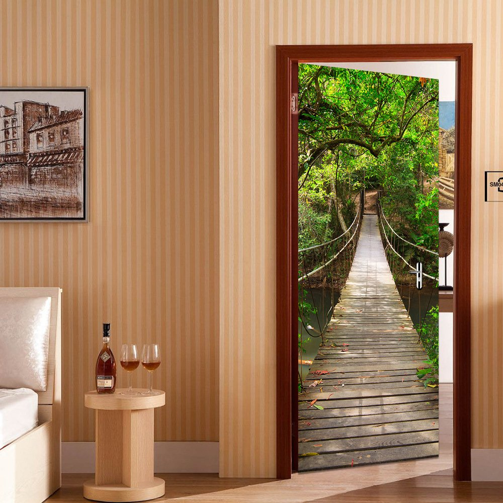 HICBOX 3D Creative Hanging Bridge Door Stickers Waterproof Door Stickers Mural 30'' w x 79'' h (77CMx200CM)