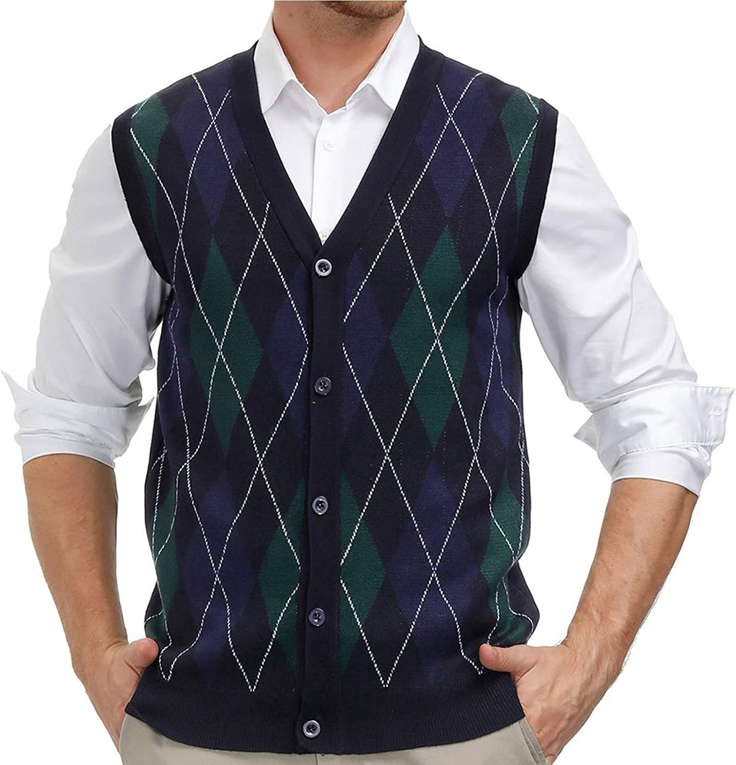 Men's Vintage Sweaters, Retro Jumpers 1920s to 1980s PJ PAUL JONES Mens Sweater Vest Cardigan Button Front Knitwear Contrast Color Argyle Sweater Vest $24.99 AT vintagedancer.com